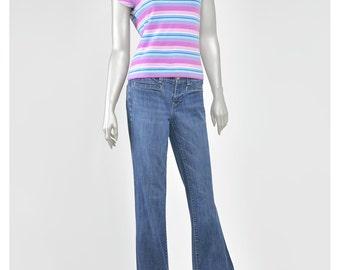 Vintage 70s Tshirt Pastel Striped Top Scoop Neck Tee Cap Sleeve Top Lilac Purple Aqua Blue Stripe T Shirt 1970s T Shirt