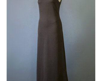 SALE - Asian Style 70s Maxi Dress Minimalist Dress Dark Brown Dress Long Mod Dress High Collar A Line Dress 1970s Evening Gown S/M