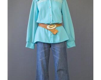SALE - Hippie Shirt Crochet Top Panel Blouse 70s Shirt Aqua Blue Blouse Boho Blouse Bohemian Top 1970s Shirt Mod Shirt