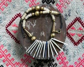 Vintage 1970's Tribal Bone and Brass Necklace Women's Jewelry / Retro / Hippie / Boho
