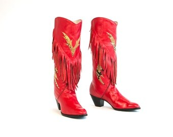 Vintage 1980's Joe's Boot Shop Supple Bright Red Leather Fringe and Snakeskin Cowboy Boots Women's Retro Country Western Women's Size 8 9