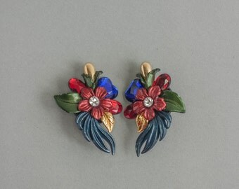 Vintage 1980s Statement Earrings Large Plastic Tropical Flower Clip On