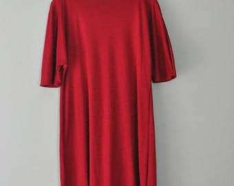 Ruby Red Free Flowing Tunic/Womens Upcycled Knit Tunic Top/Mini Dress Tunic/Fits Sizes S/M/L