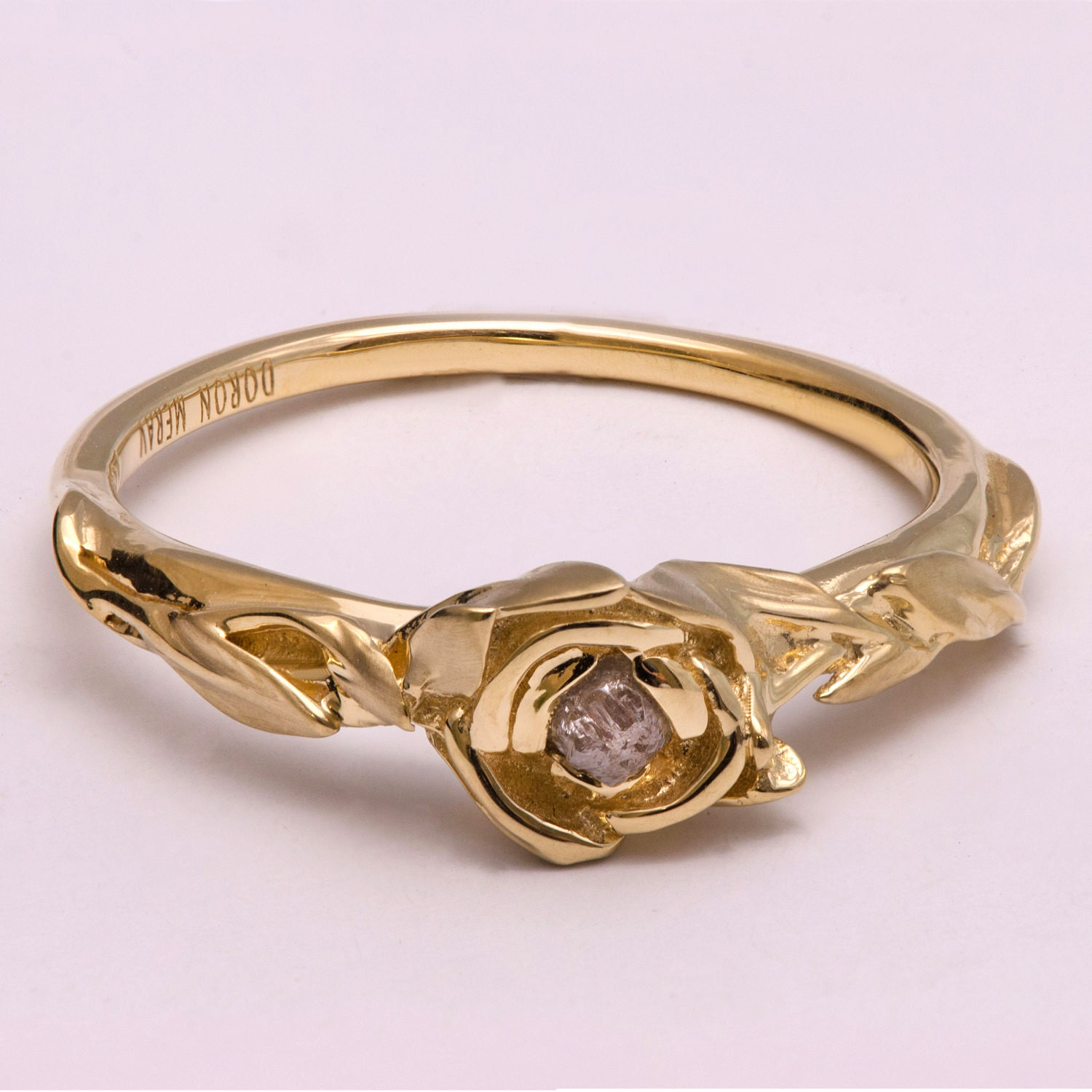 Rose Engagement Ring No 2 14K Gold and Raw Diamond