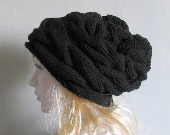 Black Slouchy Beanie Hat Black Slouch Beanie Black Hat Black Knit Hat Womens Hats Knit Slouchy Hat Knit Slouch Hat Knit Slouch Beanie