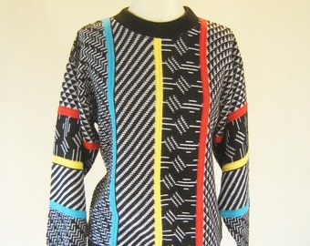 Black & White Patterns New Wave Knit Sweater Top