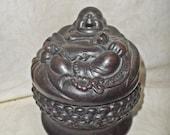 Old Chinese Yixing Zisha Pottery Carved Happy Buddha Statue Incense burner