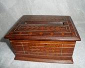 Antique Vintage Inlaid Marquetry Wood Pop Up Cigarette Box Dispenser