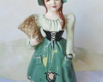 Vintage Suzette Girl with Flower Basket Vase by Florence Ceramics of Pasadena