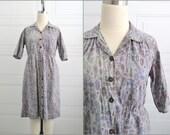 1940s Cotton Print Shirtwaist Dress