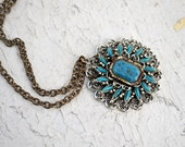 1970s Turquoise Pendant and Chain