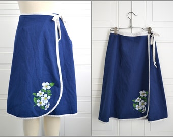 1980s Dogwood Hand Painted Wrap Skirt