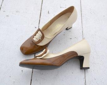 1960s Socialites Caramel and Cream Heels, Size 7 1/2