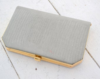 1970s Gray Faux Snakeskin Clutch Purse