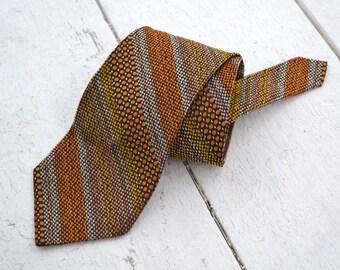 1970s Brown Woven Stripe Necktie
