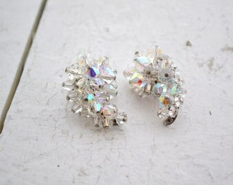 1960s Comma Iridescent Crystal Bead Cluster Clip Earrings