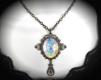 Color-Shift Muted Rainbow Opal Edwardian Heart Filigree Necklace