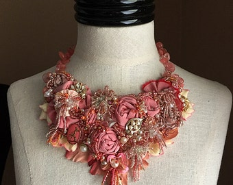 PEACH BLOSSOM LUCK Beaded Textile Yoyo Statement Necklace