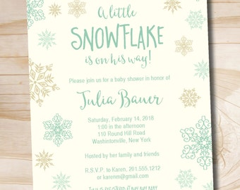 Little Snowflake Gold and Mint Boy Baby Shower Invitation - Printable Digital file or Printed Invitations