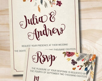 Fall Watercolor Floral Wedding Invitation Response Card - 100 Professionally Printed Invitations & Response Cards