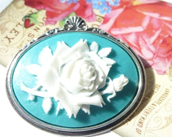 Antique Silver White on Teal Turquoise Wild Rose Cameo Brooch pin