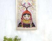 Whimsical art, Fantasy artwork, girl art print, Canvas print, vintage Book Page, folk art birds, goth art, girl portrait, fantasy art women
