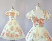 Vintage 50s Dress/ 1950s Cotton Dress/ Orange Rose Print Cotton Dress w/ Light Yellow Sheer Overlay S