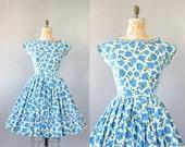 Vintage 50s Dress/ 1950s Cotton Dress/ Blue Rose Print Cotton Dress w/ Full Skirt S