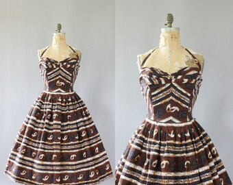 Vintage 50s Dress/ 1950s Cotton Dress/ Jack Bryan Brown Abstract and Striped Print Cotton Halter Dress L