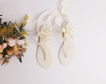 Limited Edition Ivory White Leather Sandals   Summer Wedding   Lace Up Satin Ribbon   Beach Wedding   Ivory ... LAST PAIR ... us 8 / eu 39