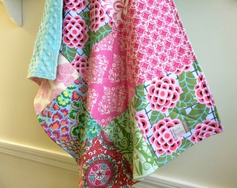 Baby Girl Quilt, Baby Shower Gift, Cradle Quilt, Car Seat Quilt,  Nursery, Pink, Aqua,  Red,  - Aqua Minky Back, Baby Blanket, Ready to Ship