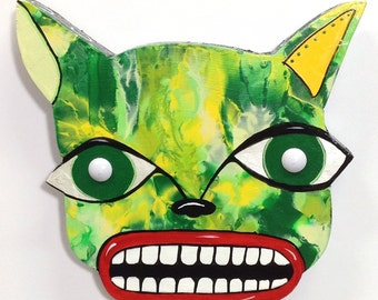 Original Outsider Folk Art Cat Plaque, Ugly Cat #2, Comical Hand Painted Wood Wall Hanging, Abstract Wiskerless Cat Wall Art by Windwalker