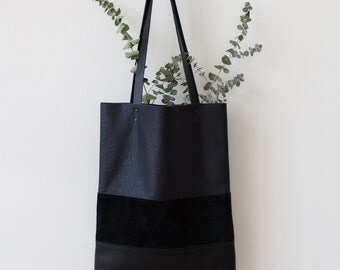 SALE Black & Navy Blue Striped tote Leather Tote bag
