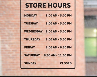 Store Hours Decal, Business Hours Decal, Store Hours Sign, Door Decal, Window Decal, Window Sticker, Window Sign, Salon, Barber, Boutique