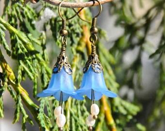 Mermaid Purse Blue Flower Earrings with Freshwater Seed Pearls