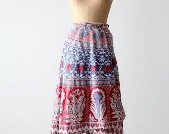 vintage wrap skirt, 70s india block print skirt