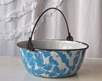 Vintage Enamelware Pot With Handle Preserving Kettle Blue Swirl Enamelware Shabby Cottage Decor Enamel Ware Circa Early 1900s