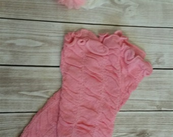 Pink legwarmers and Shabby headband for Baby Girls Portraits