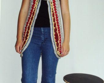 70s Boho Hippie Crochet Sweater Vest  small, medium