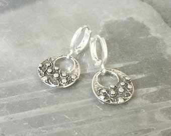 Small Silver Disc Earrings, Silver Disc Earrings, Small Disc Earrings, Disc Earrings, Small Silver Earrings, Silver Discs, Silver Earrings