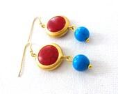 blue red gold earrings- elegant women earrings- gemstone earrings- howlite stone earrings- passion and women fashion- elegant hippie- boho