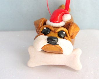 Bulldog Christmas Ornament Dog Ornament Christmas Decoration Pet Lover Gift Ideas Pet Christmas Ornaments Polymer Clay Personalized Gifts