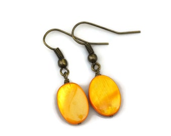 Orange Yellow Mother of Pearl Ovals . Earrings
