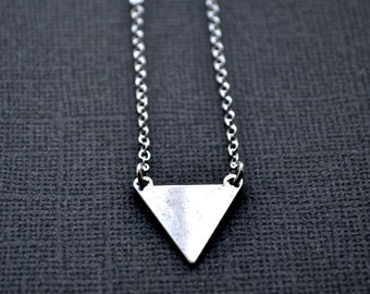 Silver Triangle . Single Pennant . Necklace