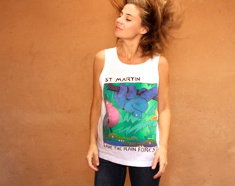 RAINFOREST vintage color block 90s white TANK top St. Martin wildlife bright slouchy tank top