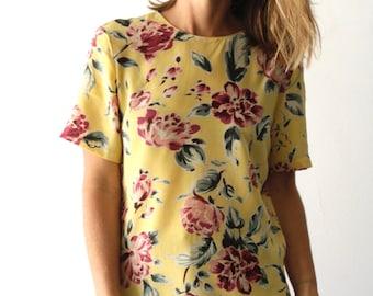 90s TWIN PEAKS floral GRUNGE short sleeve bright sheer shirt