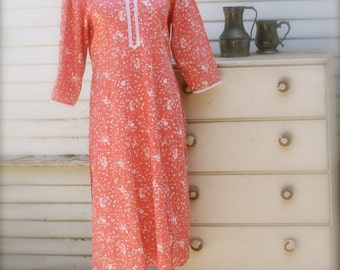 Indian Cotton Kurta Dress, Shirt Dress, Hippie Tunic Dress, Prairie, Kaftan, Swim Cover-Up, Cotton Nightgown, Peach Pink, Small Medium Large