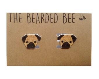 Handmade Pug Face Stud Earrings
