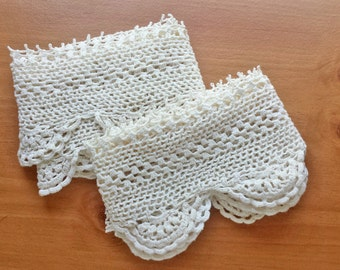 Ivory Vintage Hand Crocheted Trim, Two Lengths, 45 and 50 inches lengths, 4 inch width