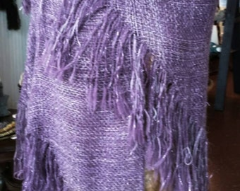Hand Woven Shawl with Fringe, Purple and Lavender with Silver Sparkle, Handmade, One of a Kind, Wool, Tencel, Acrylic, Light and Warm